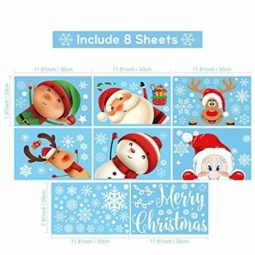 Fensterbilder Weihnachten Selbstklebend,Aivatoba Fensterdeko Weihnachten Kinderzimmer Weihnachtsmann Fensterdeko Winter Schneeflocken PVC Aufklebe Fensterbilder Weihnachten Dekoration Wiederverwendbar - 2