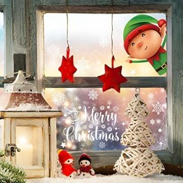 Fensterbilder Weihnachten Selbstklebend,Aivatoba Fensterdeko Weihnachten Kinderzimmer Weihnachtsmann Fensterdeko Winter Schneeflocken PVC Aufklebe Fensterbilder Weihnachten Dekoration Wiederverwendbar - 3