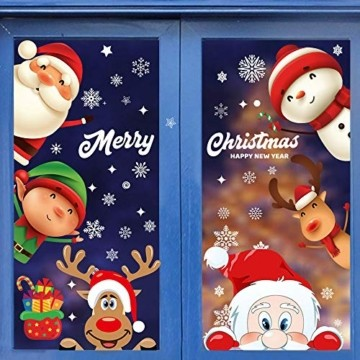 Fensterbilder Weihnachten Selbstklebend,Aivatoba Fensterdeko Weihnachten Kinderzimmer Weihnachtsmann Fensterdeko Winter Schneeflocken PVC Aufklebe Fensterbilder Weihnachten Dekoration Wiederverwendbar - 1