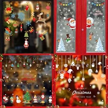 Fensterbilder Weihnachten,Schneeflocke Fensteraufkleber,Weihnachts-Fenster Dekoration,Aufklebe Weihnachtsmann,Fensterbilder Winter,Schaufenster,Schneeflocken Fenster,Weihnachtsdekoration(ALJ9282) - 2