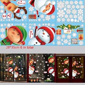Fensterbilder Weihnachten,Schneeflocke Fensteraufkleber,Weihnachts-Fenster Dekoration,Aufklebe Weihnachtsmann,Fensterbilder Winter,Schaufenster,Schneeflocken Fenster,Weihnachtsdekoration(ALJ9282) - 4