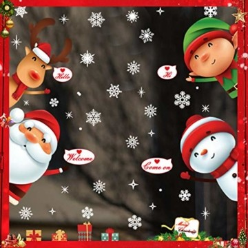 Fensterbilder Weihnachten,Schneeflocke Fensteraufkleber,Weihnachts-Fenster Dekoration,Aufklebe Weihnachtsmann,Fensterbilder Winter,Schaufenster,Schneeflocken Fenster,Weihnachtsdekoration(ALJ9282) - 1