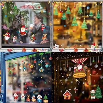 Fensterbilder Weihnachten,Schneeflocke Fensteraufkleber,Weihnachts-Fenster Dekoration,Aufklebe Weihnachtsmann,Fensterbilder Winter,Schaufenster,Schneeflocken Fenster,Weihnachtsdekoration(ALJ9282) - 6