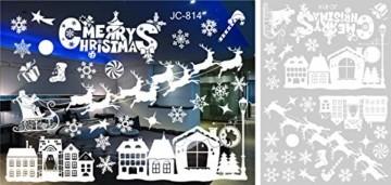 FLZONE 2 Blatt Weihnachten Fensteraufkleber,Schneeflocken Fensterdeko,Fensterbilder Weihnachten,Selbstklebend PVC Aufkleber für Weihnachten Xmas Window Display Dekorationen(Weihnachtsmann - 2