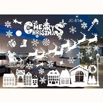 FLZONE 2 Blatt Weihnachten Fensteraufkleber,Schneeflocken Fensterdeko,Fensterbilder Weihnachten,Selbstklebend PVC Aufkleber für Weihnachten Xmas Window Display Dekorationen(Weihnachtsmann - 1