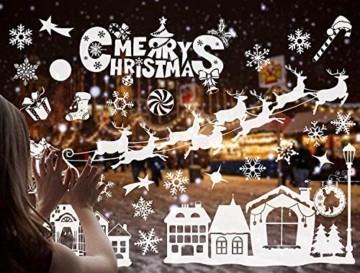 FLZONE 2 Blatt Weihnachten Fensteraufkleber,Schneeflocken Fensterdeko,Fensterbilder Weihnachten,Selbstklebend PVC Aufkleber für Weihnachten Xmas Window Display Dekorationen(Weihnachtsmann - 7