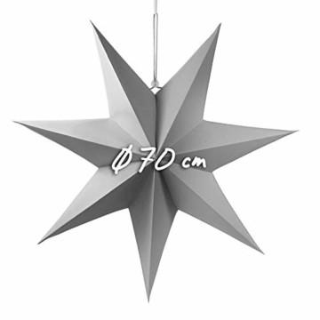 Frau WUNDERVoll® liebevolle Faltsterne grau 1 Stück Durchmesser 70 cm 7 Zacken geschlossene Oberfläche Feste Pappe Weihnachten,Advent,Fenster Dekoration,Weihnachtsbaum - 2