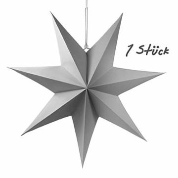 Frau WUNDERVoll® liebevolle Faltsterne grau 1 Stück Durchmesser 70 cm 7 Zacken geschlossene Oberfläche Feste Pappe Weihnachten,Advent,Fenster Dekoration,Weihnachtsbaum - 3