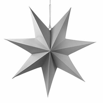 Frau WUNDERVoll® liebevolle Faltsterne grau 1 Stück Durchmesser 70 cm 7 Zacken geschlossene Oberfläche Feste Pappe Weihnachten,Advent,Fenster Dekoration,Weihnachtsbaum - 1