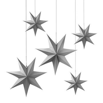 Frau WUNDERVoll® liebevolle Faltsterne grau 5 Stück: 3 Stück Durchmesser 25 cm + 2 Stück Durchmesser 40 cm 7 Zacken geschlossene Oberfläche Feste Pappe - 1