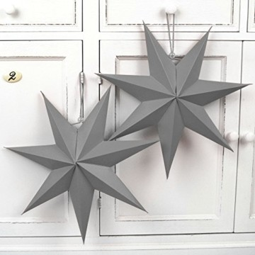 Frau WUNDERVoll® liebevolle Faltsterne grau 5 Stück: 3 Stück Durchmesser 25 cm + 2 Stück Durchmesser 40 cm 7 Zacken geschlossene Oberfläche Feste Pappe - 5