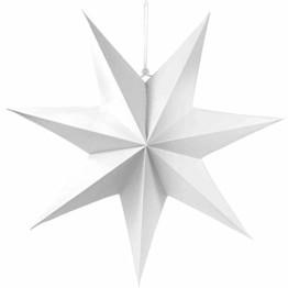 Frau WUNDERVoll® liebevolle Faltsterne weiß 1 Stück Durchmesser 70 cm 7 Zacken geschlossene Oberfläche Feste Pappe - 1