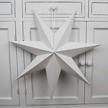 Frau WUNDERVoll® liebevolle Faltsterne weiß 5 Stück: 3 Stück Durchmesser 25 cm + 2 Stück Durchmesser 40 cm 7 Zacken geschlossene Oberfläche Feste Pappe - 2