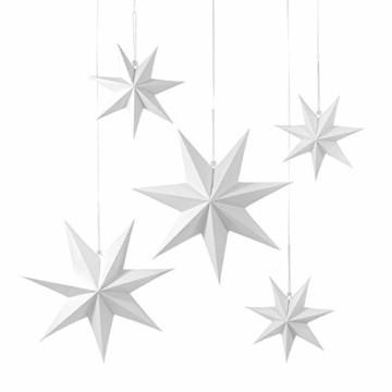 Frau WUNDERVoll® liebevolle Faltsterne weiß 5 Stück: 3 Stück Durchmesser 25 cm + 2 Stück Durchmesser 40 cm 7 Zacken geschlossene Oberfläche Feste Pappe - 1