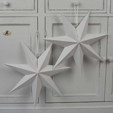 Frau WUNDERVoll® liebevolle Faltsterne weiß 5 Stück: 3 Stück Durchmesser 25 cm + 2 Stück Durchmesser 40 cm 7 Zacken geschlossene Oberfläche Feste Pappe - 5