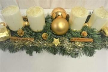 Generisch Adventskranz Creme-Gold 60 cm künstlich Weihnachten Advent Gesteck Adventsgesteck Kerzen - 3