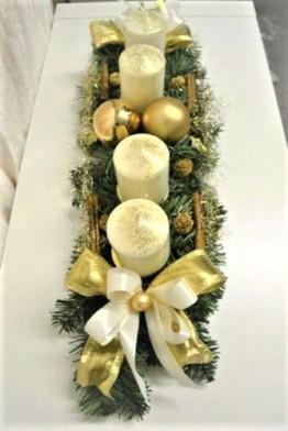 Generisch Adventskranz Creme-Gold 60 cm künstlich Weihnachten Advent Gesteck Adventsgesteck Kerzen - 1