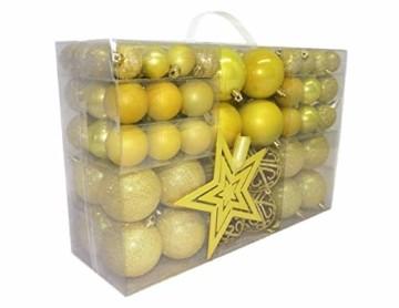 Geschenkestadl 1727S 100 Weihnachtskugeln und Baumspitze Stern (Gelb) - 1
