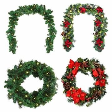 Girlande Weihnachten 270cm - Tannengirlande Beleuchtet Grün mit 30 LED Lichter Warmweiß – Weihnachtsgirlande Treppengirlande Weihnachtsdeko für Kamin, Treppe, Geländer, Außen, Innen, Party Dekoration - 2