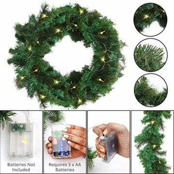 Girlande Weihnachten 270cm - Tannengirlande Beleuchtet Grün mit 30 LED Lichter Warmweiß – Weihnachtsgirlande Treppengirlande Weihnachtsdeko für Kamin, Treppe, Geländer, Außen, Innen, Party Dekoration - 4