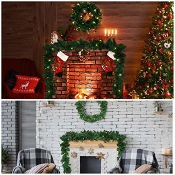Girlande Weihnachten 270cm - Tannengirlande Beleuchtet Grün mit 30 LED Lichter Warmweiß – Weihnachtsgirlande Treppengirlande Weihnachtsdeko für Kamin, Treppe, Geländer, Außen, Innen, Party Dekoration - 5