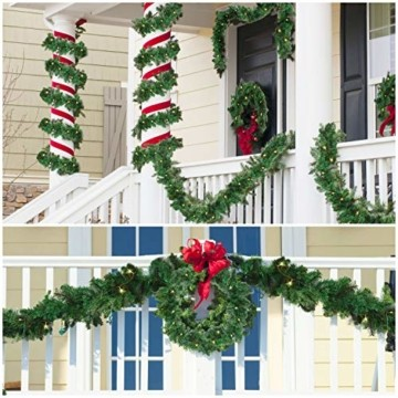 Girlande Weihnachten 270cm - Tannengirlande Beleuchtet Grün mit 30 LED Lichter Warmweiß – Weihnachtsgirlande Treppengirlande Weihnachtsdeko für Kamin, Treppe, Geländer, Außen, Innen, Party Dekoration - 6