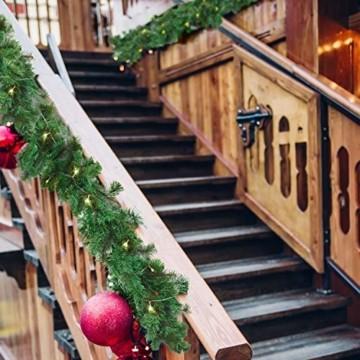 Girlande Weihnachten 270cm - Tannengirlande Beleuchtet Grün mit 30 LED Lichter Warmweiß – Weihnachtsgirlande Treppengirlande Weihnachtsdeko für Kamin, Treppe, Geländer, Außen, Innen, Party Dekoration - 7