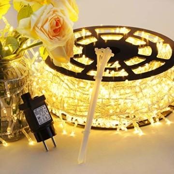 GlobaLink LED Lichterkette Außen, 50M 2000 LEDs Lichterkette Weihnachtsbeleuchtung IP44 mit Stecker 8 Modi & Memory-Funktion für innen und außen Weihnachten Hochzeit Party Garten Dekoration -Warmweiß - 5