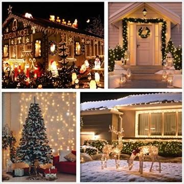 GlobaLink LED Lichterkette Außen, 50M 2000 LEDs Lichterkette Weihnachtsbeleuchtung IP44 mit Stecker 8 Modi & Memory-Funktion für innen und außen Weihnachten Hochzeit Party Garten Dekoration -Warmweiß - 6