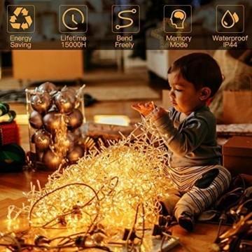 GlobaLink LED Weihnachtsbeleuchtung Außen, 50M 2000Leds Cluster Lichterkette Strombetrieben IP44 mit 8 Modi & Memory Funktion Weihnachtsdeko für innen und außen Weihnachtsbaum Party Garten- Warmweiß - 7