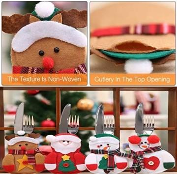 Gohist 8 Stücke Weihnachten Besteckhalter Küchenbesteck Weihnachtsmann Besteckbeutel Taschen Messer Gabeltasche,8 Verschiedene geformt Weihnachten tischdeko Besteck Party Dekoration - 2