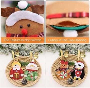 Gohist 8 Stücke Weihnachten Besteckhalter Küchenbesteck Weihnachtsmann Besteckbeutel Taschen Messer Gabeltasche,8 Verschiedene geformt Weihnachten tischdeko Besteck Party Dekoration - 4