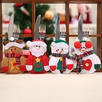Gohist 8 Stücke Weihnachten Besteckhalter Küchenbesteck Weihnachtsmann Besteckbeutel Taschen Messer Gabeltasche,8 Verschiedene geformt Weihnachten tischdeko Besteck Party Dekoration - 9
