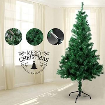 Gotoll Künstlicher Weihnachtsbaum 120 cm, Tannenbaum in grün, Christbaum mit Metallständer, schwer entflammbar - 5