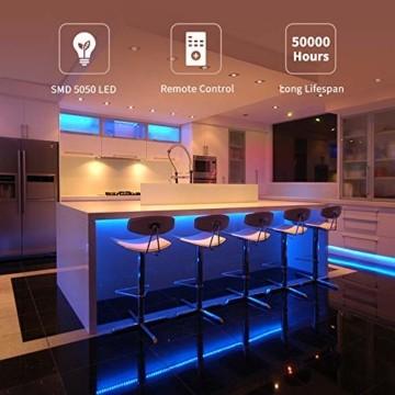 Govee LED Streifen 5m, RGB LED Strip mit Fernbedienung, farbänderbares LED Lichtband für Zuhause, Schlafzimmer, TV, Tische, Schrank, 12V - 4