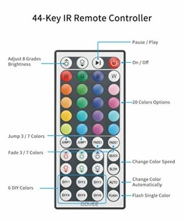 Govee LED Streifen 5m, RGB LED Strip mit Fernbedienung, farbänderbares LED Lichtband für Zuhause, Schlafzimmer, TV, Tische, Schrank, 12V - 6