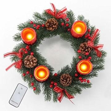 Gravidus dekorativer Adventskranz mit 4 LED Echtwachskerzen und Fernbedienung - 3