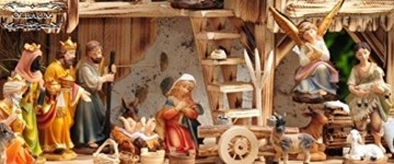 Große Weihnachtskrippe, mit Brunnen + Dekor, ca. 60 cm Massivholz historisch braun komplett mit Brunnenset - mit 12 x PREMIUM-Krippenfiguren + goldener Engel - 2