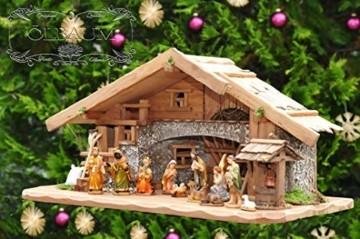 Große Weihnachtskrippe, mit Brunnen + Dekor, ca. 60 cm Massivholz historisch braun komplett mit Brunnenset - mit 12 x PREMIUM-Krippenfiguren + goldener Engel - 1