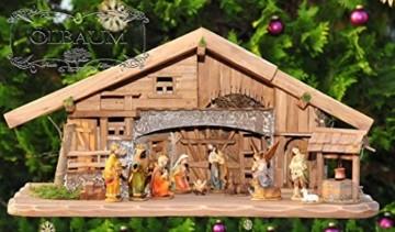 Große Weihnachtskrippe, mit Brunnen + Dekor, ca. 60 cm Massivholz historisch braun komplett mit Brunnenset - mit 12 x PREMIUM-Krippenfiguren + goldener Engel - 7