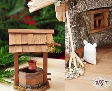 Große Weihnachtskrippe, mit Brunnen + Dekor, ca. 60 cm Massivholz historisch braun komplett mit Brunnenset - mit 12 x PREMIUM-Krippenfiguren + goldener Engel - 8