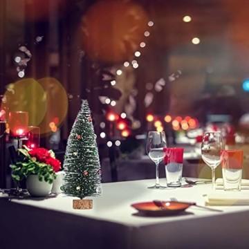 Gukasxi Künstliche Weihnachtsbäume Mini Weihnachtsbaum Künstlich Klein Weihnachtsdeko Miniatur Tannenbaum Grün Mini Christbaum Tree Klein Weihnachtsdeko Figuren Weihnachtsbaum mit Schleifen - 5