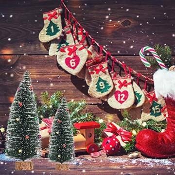 Gukasxi Künstliche Weihnachtsbäume Mini Weihnachtsbaum Künstlich Klein Weihnachtsdeko Miniatur Tannenbaum Grün Mini Christbaum Tree Klein Weihnachtsdeko Figuren Weihnachtsbaum mit Schleifen - 7