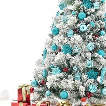 HAIGOU 113 Weihnachtskugeln Christbaumschmuck Aufhänger Christbaumkugeln für den Weihnachtsbaum Weihnachtsbaumschmuck Weihnachtsbaumkugeln (Blau) - 3