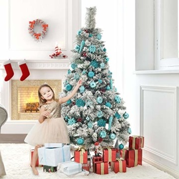 HAIGOU 113 Weihnachtskugeln Christbaumschmuck Aufhänger Christbaumkugeln für den Weihnachtsbaum Weihnachtsbaumschmuck Weihnachtsbaumkugeln (Blau) - 5