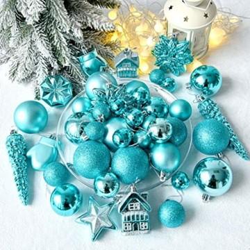 HAIGOU 113 Weihnachtskugeln Christbaumschmuck Aufhänger Christbaumkugeln für den Weihnachtsbaum Weihnachtsbaumschmuck Weihnachtsbaumkugeln (Blau) - 6