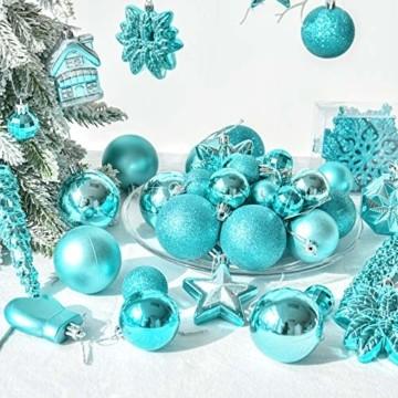 HAIGOU 113 Weihnachtskugeln Christbaumschmuck Aufhänger Christbaumkugeln für den Weihnachtsbaum Weihnachtsbaumschmuck Weihnachtsbaumkugeln (Blau) - 7