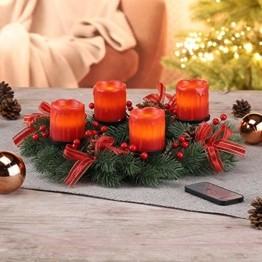 Haushalt International Weihnachtskranz mit LED-Echtwachskerzen und Fernbedienung Ø 30 cm Adventskranz inklusive Fernbedienung Weihnachtsdeko 54424 - 1