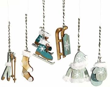 HEITMANN DECO Christbaum-Schmuck - Behang Set aus Holz - 6-TLG. - Weihnachten Baumbehang in modischer Farbe - Petrol - Weihnachtsdeko - 1