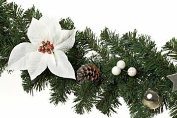 HEITMANN DECO Tannengirlande für innen - Weihnachtsgirlande Dekogirlande Girlande Weihnachten - natürliche Dekoration - Grün, Weiß, Silber - 2